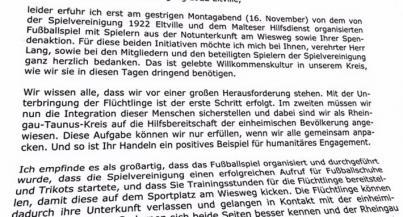 Schreiben von Landrat Burkhard Albers vom 17.11.2015